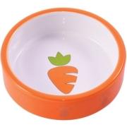 Миска КерамикАрт керамическая для грызунов 70 мл Оранжевая с морковью...