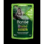 Влажный корм Monge Cat BWild GRAIN FREE паучи из мяса дикого кабана с овощами дл...