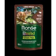 Влажный корм Monge Cat BWild GRAIN FREE паучи из мяса буйвола с овощами для коше...