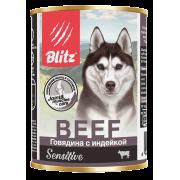 Консервы Blitz Sensitive Dog Beef & Turkey (Pate) для собак всех пород и воз...