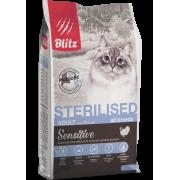Сухой корм Blitz Sensitive Turkey Adult Sterilised Cat All Breeds с индейкой для...