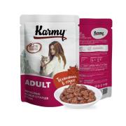 Влажный корм Karmy Adult Телятина. Мясные кусочки в соусе для кошек 80гр...