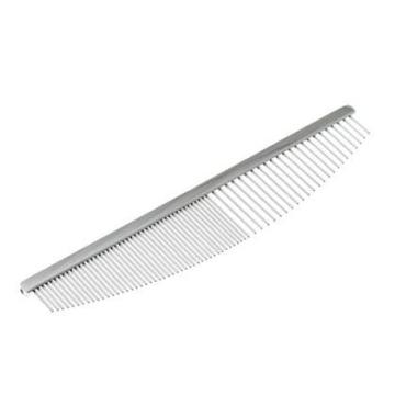 Расческа Комбо стальная профессиональная полукруглая, хромовое покрытие, 19 см