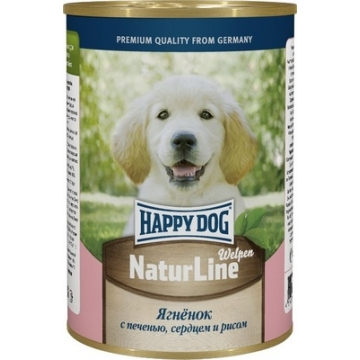 Консервы Happy Dog для щенков ягненок, печень, сердце и рис 410гр