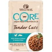 Влажный корм CORE TENDER CUTS для кошек курица с лососем в виде нарезки в соусе ...