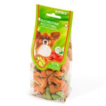"Лакомство TiTBiT печенье ""Бисквитные косточки"" с морковью и кабачком, 100г"
