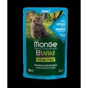 Влажный корм Monge Cat BWild GRAIN FREE паучи из анчоусов с овощами для взрослых...