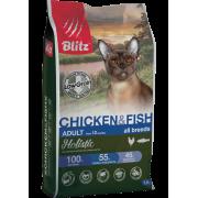Сухой корм Blitz Holistic Chicken & Fish Cat All Breeds низкозерновой для вз...