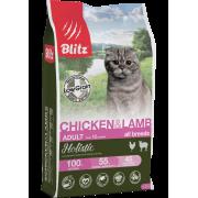 Сухой корм Blitz Holistic Chicken & Lamb Cat All Breeds низкозерновой для вз...