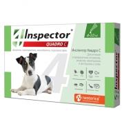 Капли Inspector Quadro от внешних и внутренних паразитов (от 4 до 10кг) 1 пипетк...
