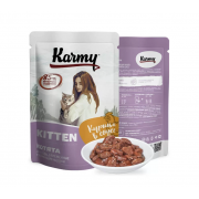 Влажный корм Karmy Kitten Курица. Мясные кусочки в соусе для котят 80гр...