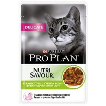 Влажный корм Pro Plan Nutri Savour Delicate для кошек ягненок в соусе, 85гр