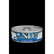Farmina N&D Cat Ocean для кошек, треска, креветки и тыква 80г...