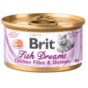 Консервы Brit Care Fish Dreams куриное филе и креветки для кошек (80г)...