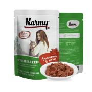 Влажный корм Karmy Sterilized Телятина. Мясные кусочки в желе для стерилизованны...