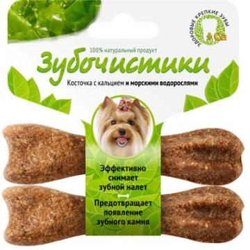Лакомство Зубочистики для собак мелких пород косточка со вкусом морских водорослей (2шт*18г)