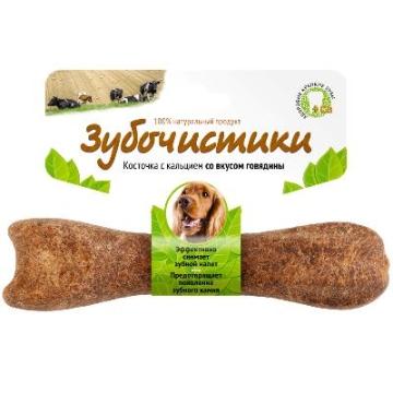 Лакомство Зубочистики для собак средних пород косточка со вкусом говядины (95г)
