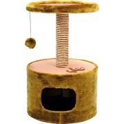 Домик Зооник 22088 - 2 для кошек одн. мех+меб. ткань круглый коричневый...