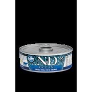 Farmina N&D Cat Ocean для кошек, тунец, треска и креветки 80г...