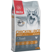 Сухой корм Blitz Classic Chicken & Rice Adult Dog All Breeds для собак всех ...