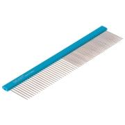 Расчёска DeLIGHT алюм. 19,5 см с плоской синей ручкой, зуб 2,8 см,  316650-6...