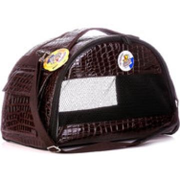 Сумка - переноска Зооник полукруглая, кожзам коричневая 40х21х25см