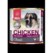 Консервы Blitz Classic Dog Chicken & Oatmeal Minced для собак всех пород и в...