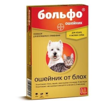 Ошейник Bayer Больфо 38см от блох для кошек и мелких собак (действие 4 месяца)