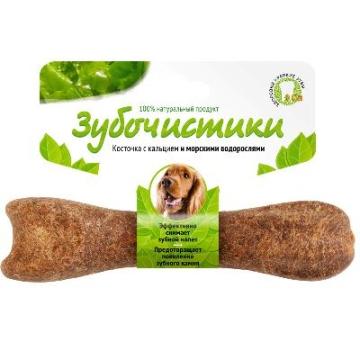 Лакомство Зубочистики для собак средних пород косточка со вкусом морских водорослей (95г)