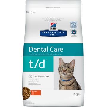 Сухой корм для кошек Hill's Prescription Diet t/d Dental Care при заболеваниях полости рта, с курицей 1,5 кг