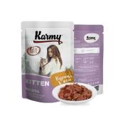 Влажный корм Karmy Kitten Курица. Мясные кусочки в желе для котят 80гр...