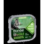 Консервы Monge Cat BWild GRAIN FREE беззерновые из кабана с овощами для стерилиз...