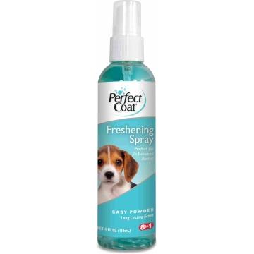 Дезодорирующее средство 8in1 для шерсти собак с ароматом детской присыпки спрей 118 мл