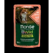 Влажный корм Monge Cat BWild GRAIN FREE паучи из лосося с креветками и овощами д...
