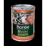 Monge Dog BWild GRAIN FREE беззерновые консервы из индейки с тыквой и кабачками ...