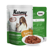 Влажный корм Karmy Sterilized Курица. Мясные кусочки в желе для стерилизованных ...