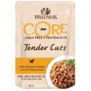 Влажный корм CORE TENDER CUTS для кошек курица с куриной печенью в виде нарезки ...