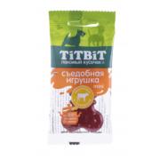 Лакомство TiTBiT Съедобная игрушка косточка с телятиной Mini для собак...