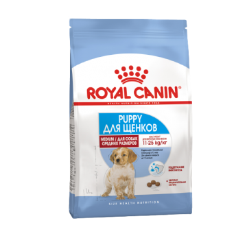 Сухой корм Royal Canin Medium Puppy для щенков средних пород с 2 до 12 месяцев